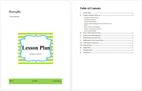 lesson plan template microsoft word templates