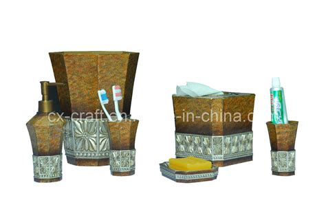 china polyresin bath bathroom accessory set cx080089