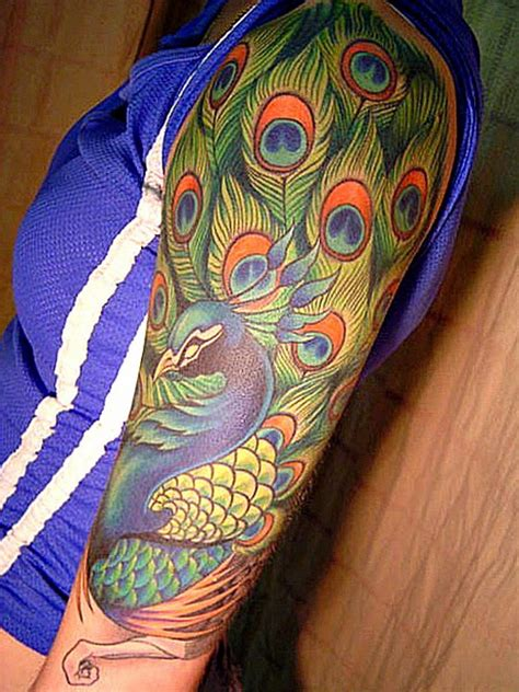 peacock tattoo quarter sleeve peacock tattoo on arm sleeve busbones