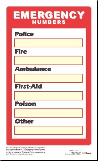 hr department phone number emergency phone numbers poster