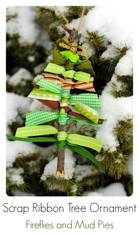 scrap ribbon tree ornament home for the holidays