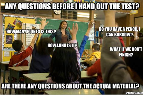 Funny Classroom Memes - questions before a test
