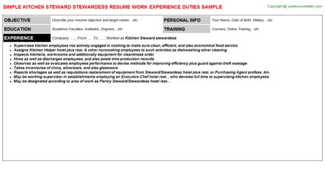 Resume Sle For Kitchen Steward Kitchen Steward Stewardess Resume Sle