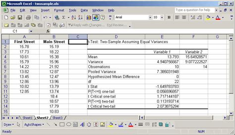 hypothesis testing excel template two