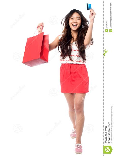 let s go shopping in edae cute in korea let s go shopping cheerful young girl royalty free stock