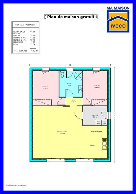 Plan Maison Plein Pied Gratuit 3383 by Plan De Maison De 80m2 Plein Pied Og36 Jornalagora