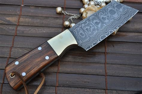 usa made kitchen knives custom handmademade damascus chef knife walnut handle perkin