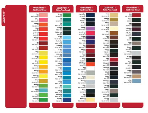 color matched color charts penn emblem company
