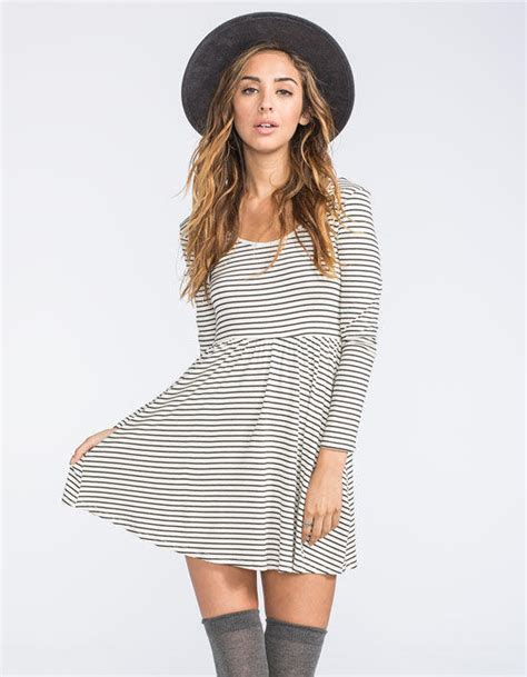 Tilt Stripe Dress tilt stripe skater dress white black from tilly s
