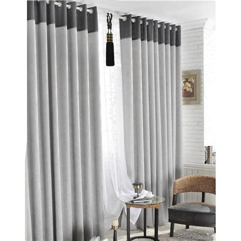 Grey Curtains Classic Linen Polyester Blend Blackout Grey Curtains Two