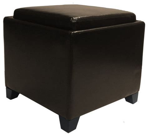Contemporary Storage Ottoman With Tray Brown Ottomans With Trays And Storage