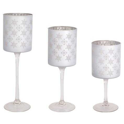 Votive Candle Holder Set Silver Snowflake Glass Votive Candle Holder Set Of 3