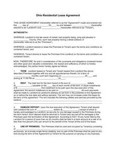 Free Residential Lease Agreement Template free ohio standard residential lease agreement template