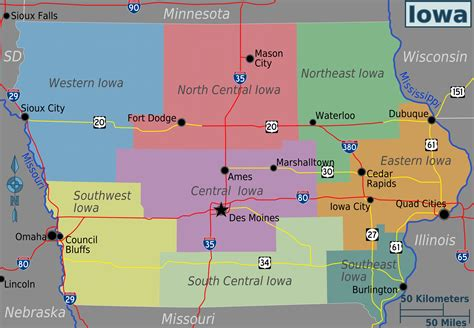 iowa maps map of iowa overview map regions worldofmaps net