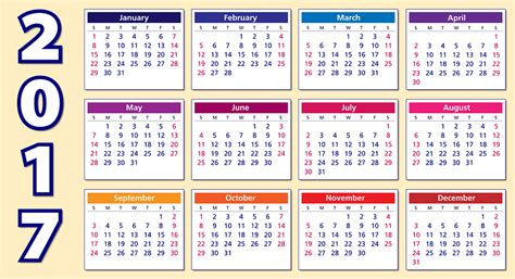 Calendar Of The Year 2017 Free Vector Graphic Calendar 2017 Weeks Months Year