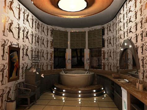 vasca da bagno tonda foto bagno in simil stile egiziano con vasca