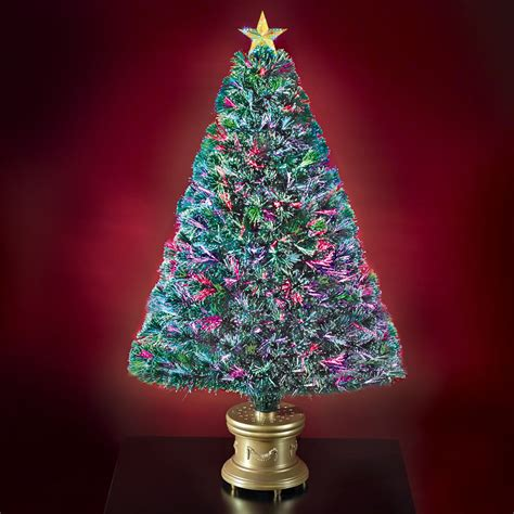 the 4 fiber optic twinkling tree hammacher schlemmer