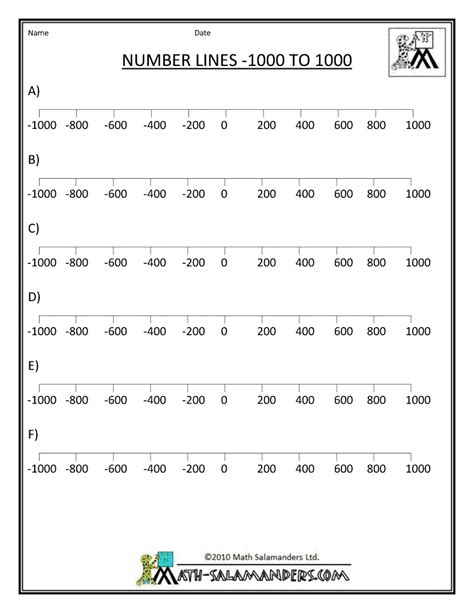 printable number line up to 1000 free printable number lines