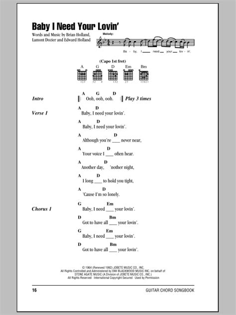 Baby I Need Your Lovin' Sheet Music | The Four Tops