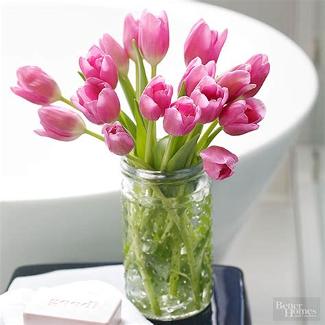 cut tulips  put    vase