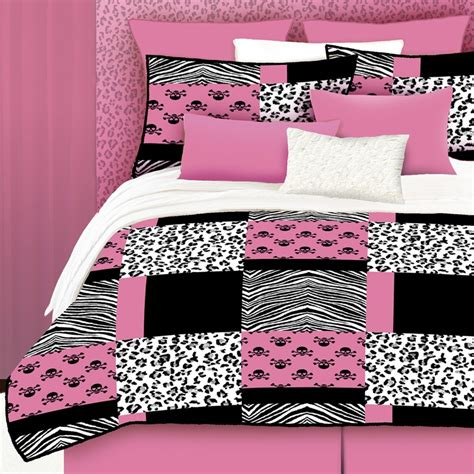 pink comforter set queen shop pink skulls 4 piece pink queen comforter set at lowes com
