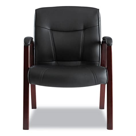 leather guest chair madaris series leather guest chair w wood trim by alera