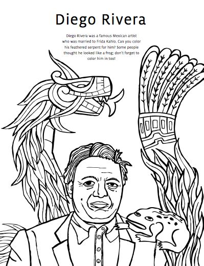 Diego Activity Book Page Kunst Pinterest Diego Diego Rivera Coloring Pages