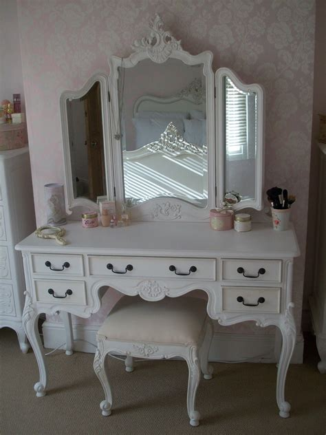 shabby chic white makeup vanity set with plenty drawers