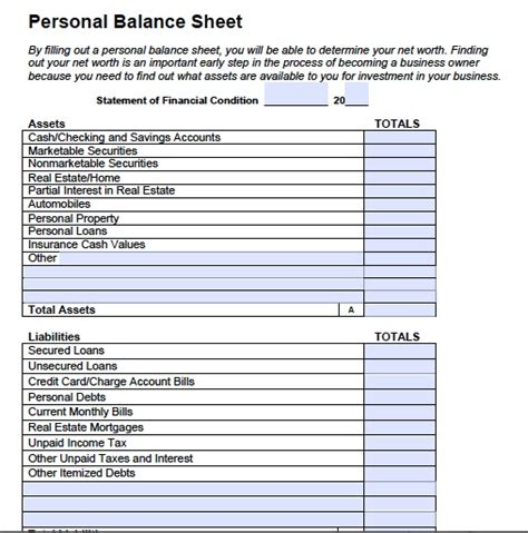 free printable and blank balance sheet template sles