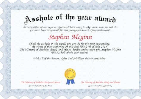******* of the year award Certificate   Created with
