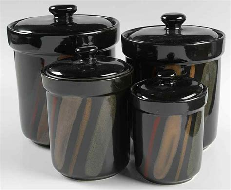 Black Kitchen Canisters Sets Sango Avanti Black 4 Canister Set 8250597 Ebay