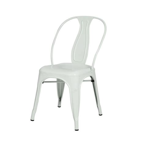 White Metal Dining Chairs Adeco Glossy White Metal Stacking Dining Chairs Set Of 3 Ch0155 4