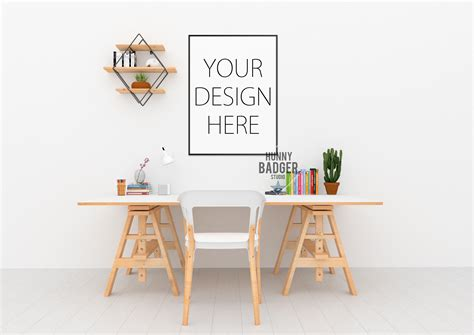 mock up your design here desk mockup wall art mock up by hunny design bundles