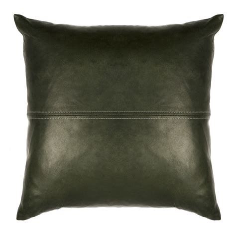 Leather Cushions by 40cm X 40cm 100 Leather Cushion Forest Green