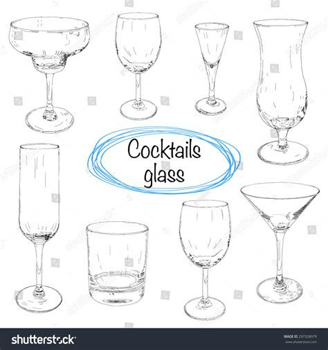 cocktail sketch set hand drawn cocktail glasses sketch stock vector