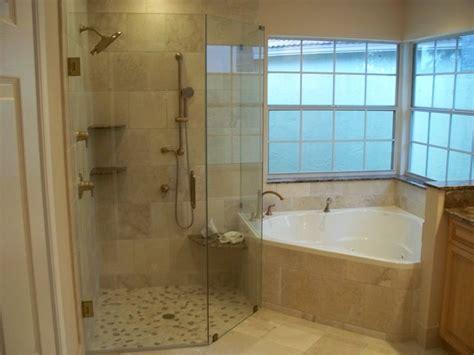 corner bathtub with shower combo corner tub w larger walk in shower beautiful bathrooms