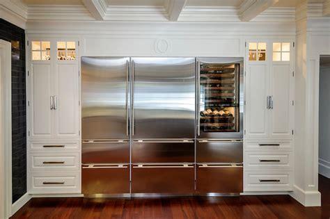 integrated refrigerator transitional kitchen leslie