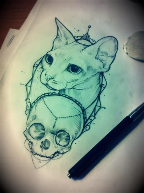 sphynx cat tattoo sphynx cat skull design tattoos sketches