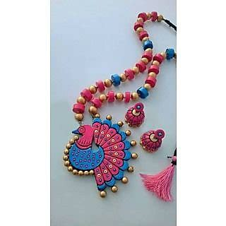 peacock design terracotta jewellery set pink blue and