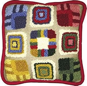 punch rug kits mcg textiles patchwork pillow rug yarn punch needle kit in home kitchen