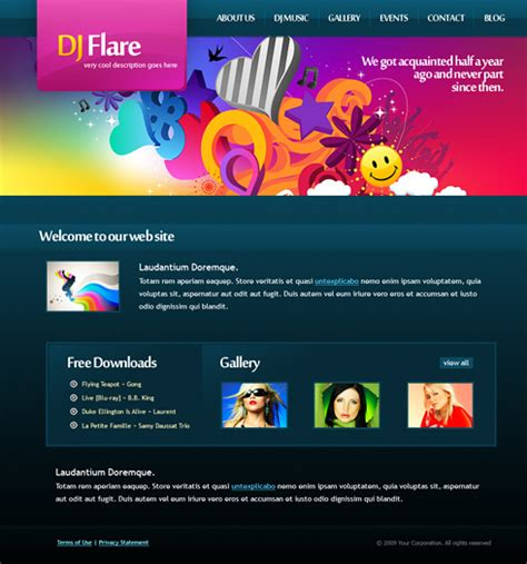 Dj Flare Css Template 6161 Creative Design Website Templates Dreamtemplate Dj Web Design Templates