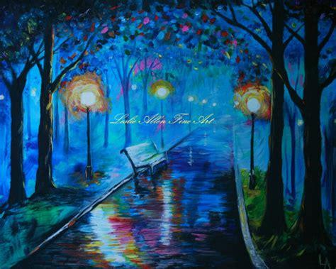 park bench painting surreal romantic painting art print park bench blue teal