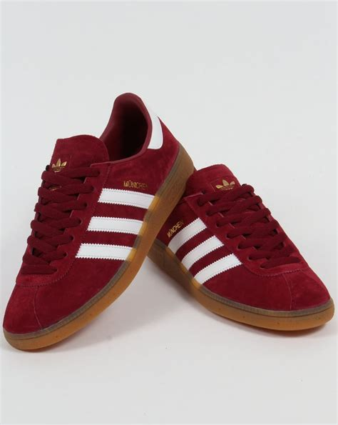 Adidas Munchen Snakers adidas munchen trainers burgundy white shoes originals