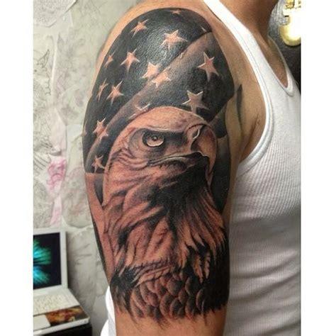 eagle and flag tattoo black and grey american flag and bald eagle half