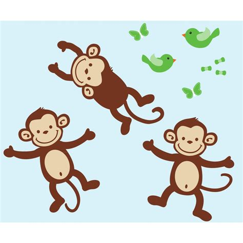 Tree Wall Mural three monkey sticker for kids rooms