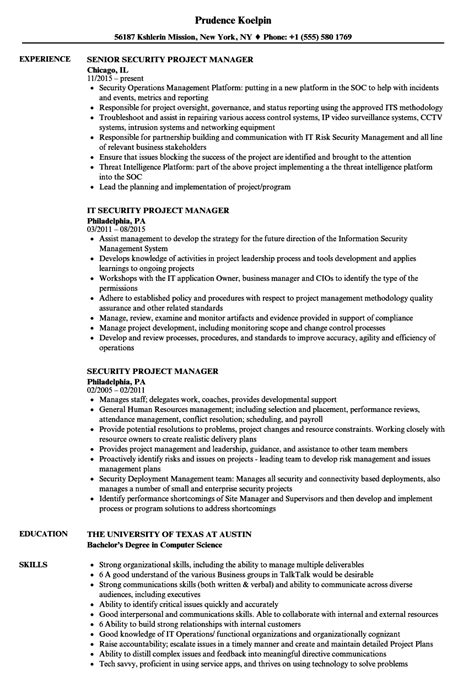 security project manager resume sles velvet