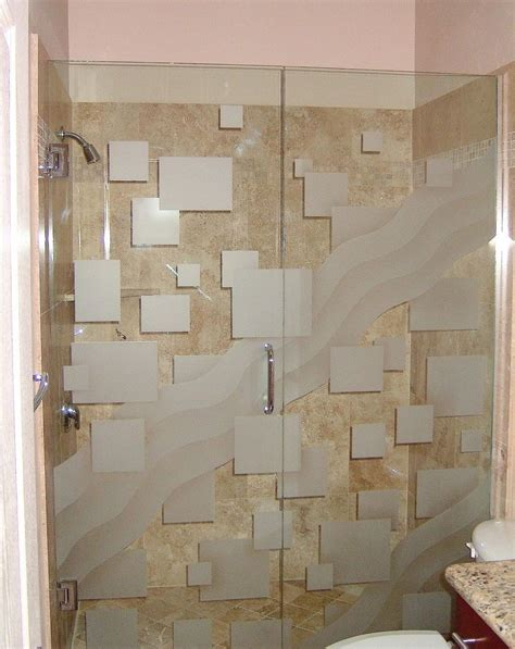 etched glass shower  squares pattern  wave entry