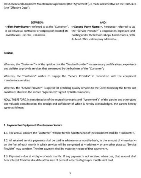 o m agreement template ne0195 service equipment maintenance agreement template