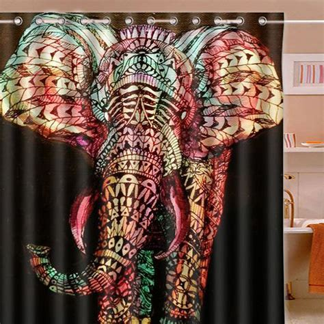 colorful shower curtain hooks 180x180cm waterproof colorful elephant polyester shower
