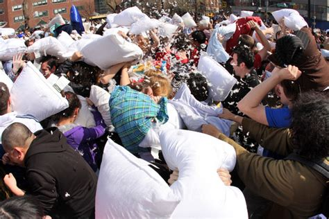 Largest Pillow Fight the world s largest pillow fight in nyc zimbio